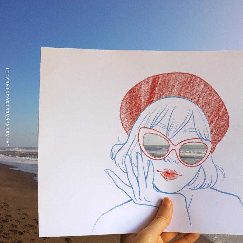 disegno ragazza al mare