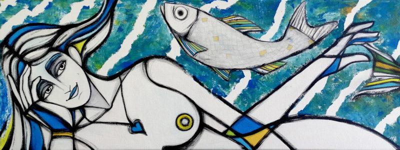 Stefania Gagliano donna con pesce