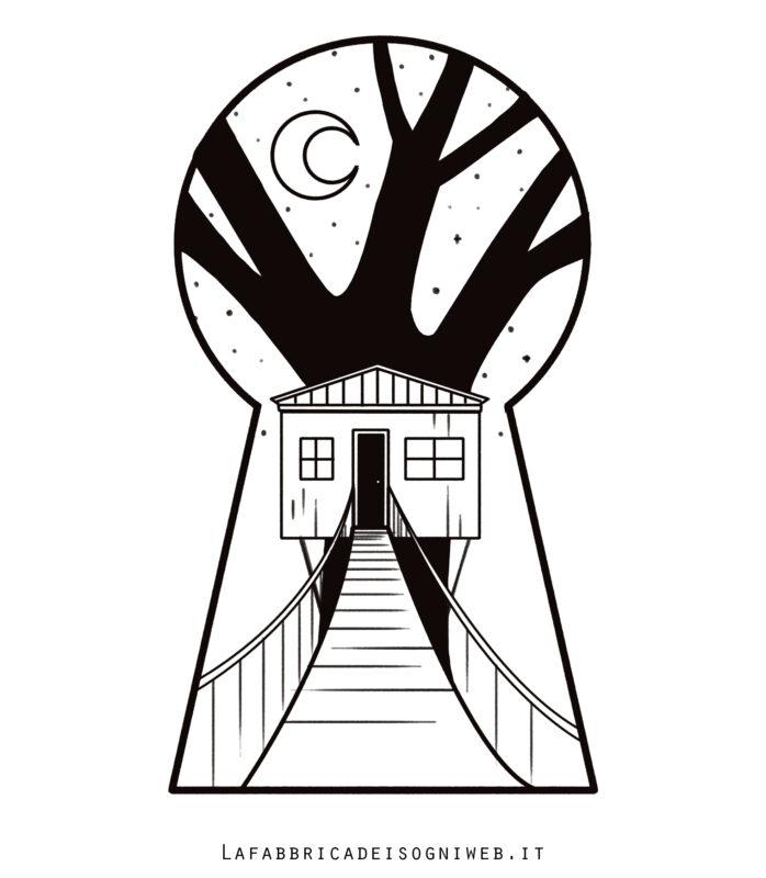 Minimondo: casa sull'albero nella serratura