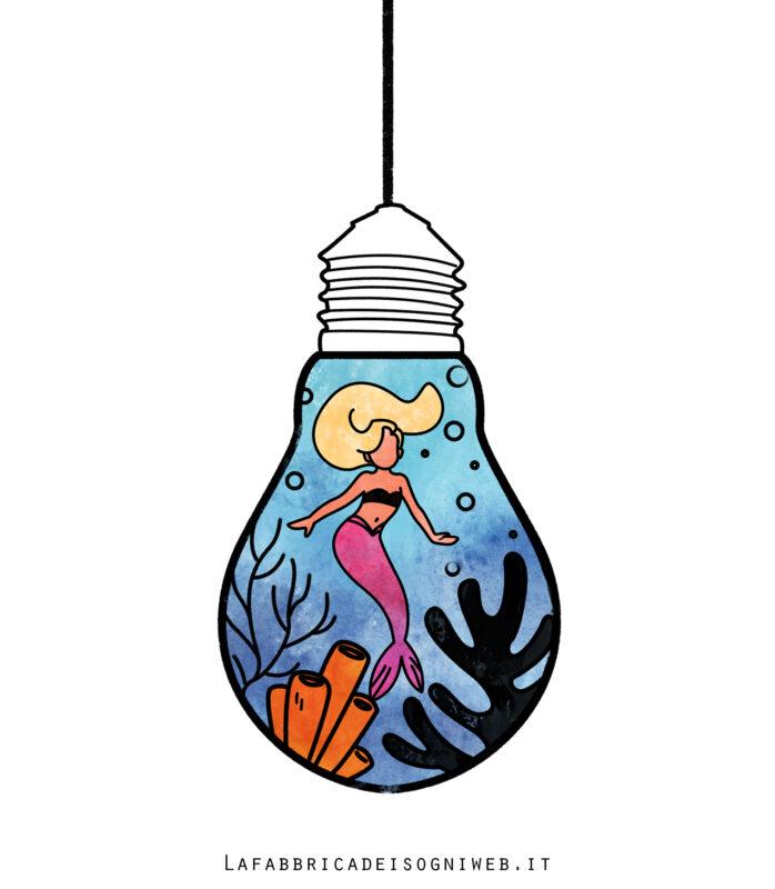 Minimondo: sirenetta nella lampadina