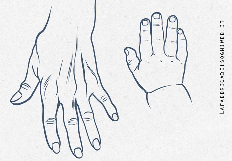 Mani di adulti e mani di bambini